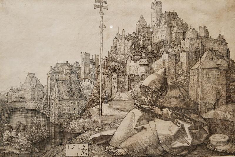 Альбрехт Дюрер. Святой Антоний у стен города. 1519.