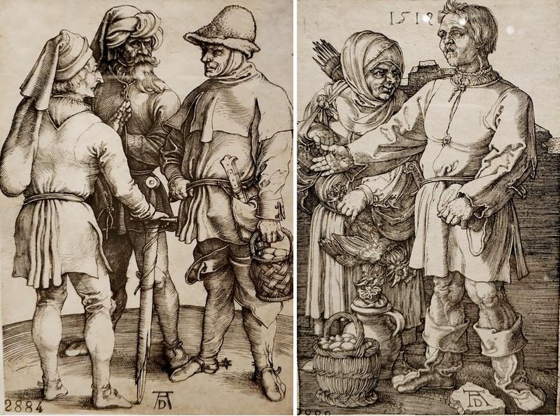 Альбрехт Дюрер. Три беседующих крестьянина. Около 1497. - Крестьянин и его жена на рынке. 1519.