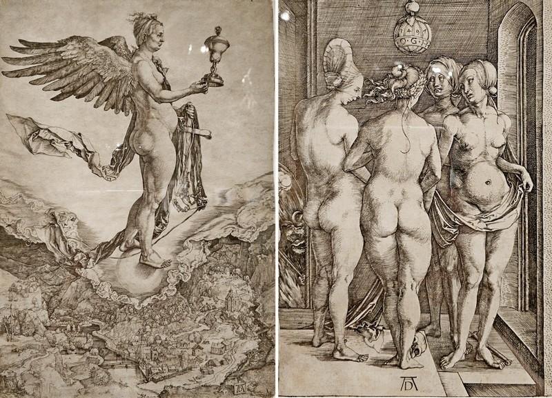 Альбрехт Дюрер. Немезида. Около 1501-1502. -  Четыре ведьмы (Четыре обнаженные женщины). 1497.