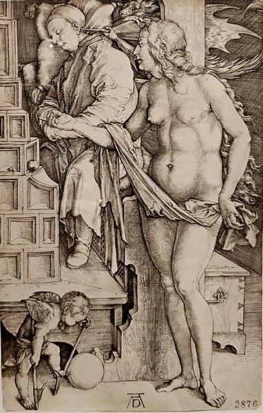 Альбрехт Дюрер. Искушение лентяя (Сон ученого). Около 1498.