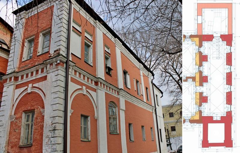 Палаты Аверкия Кириллова. Западная пристройка 1690-х годов. Фото 2021. – На плане подклета пристройка 1690-х годов обозначена тёмно-розовым цветом.