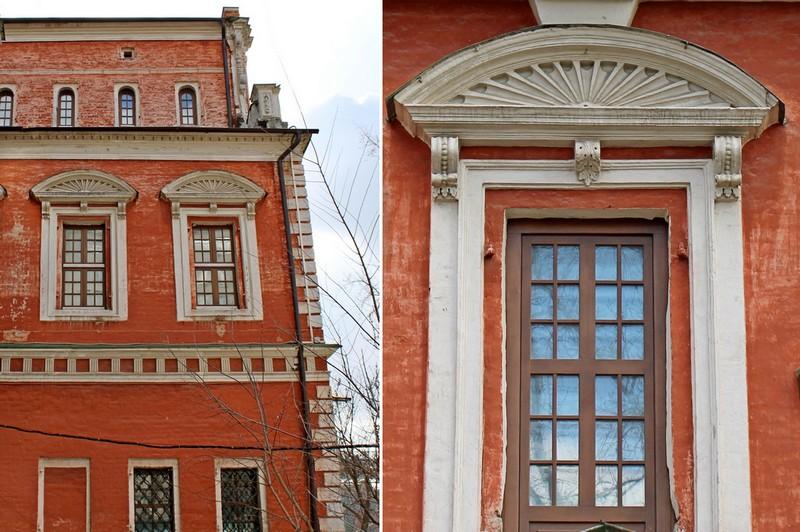 Боковой фасад центрального ризалита и декор окна второго яруса.
