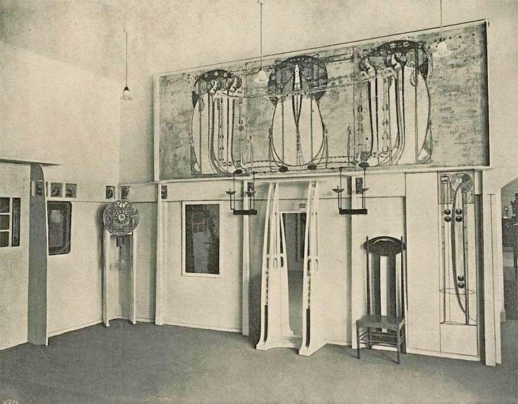 Интерьер Шотландского зала на Восьмой выставке Сецессиона в Вене. Арх. Ч.Р.Макинтош. 1900.