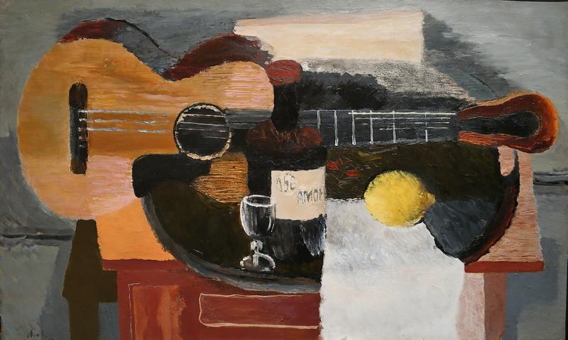 В.Лебедев. Натюрморт с гитарой. 1930. Холст, масло. Собрание И.М. Эзраха. В настоящее время  в собрании KGallery.