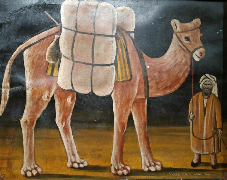 Нико Пиросмани. Погонщик с верблюдом. 1910-е. Картон, масло. Собрание И.Г.Сановича. В частном собрании.
