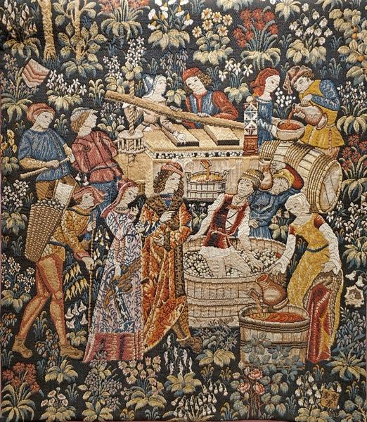 Сбор винограда. Выполнен по оригинальному гобелену XV века из музея Клюни. 95х71 см.