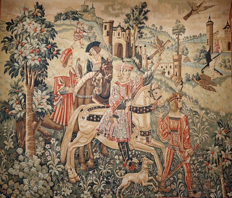 Выезд на охоту. Выполнен по шпалере 1500 года, обнаруженной в XVI веке в районе Бордо, из музея Клюни. 130х170 см.