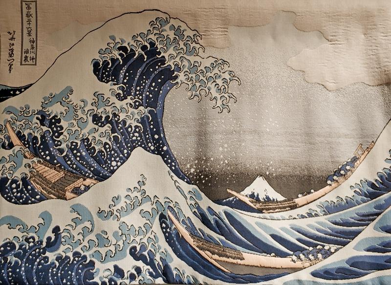 Большая волна в Канагаве. Выполнен по гравюре Кацусики Хокусая из серии «36 видов Фудзи». 70х95 см.