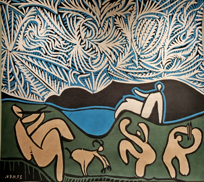 Вакханки с козленком и зрители. Соткан по картине 1959 года Пабло Пикассо. 140х160 см.