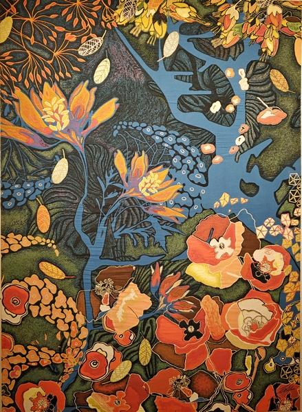 Сад Эдема. Работа французской художницы, дизайнера, архитектора Таль Уолдман. Эскиз ковра выполнен в 2009 году по заказу Мэрии Парижа. 205х150 см.
