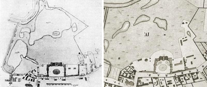 Усадьба Разумовского на Гороховской улице. Планы 1805 и  1852 годов.