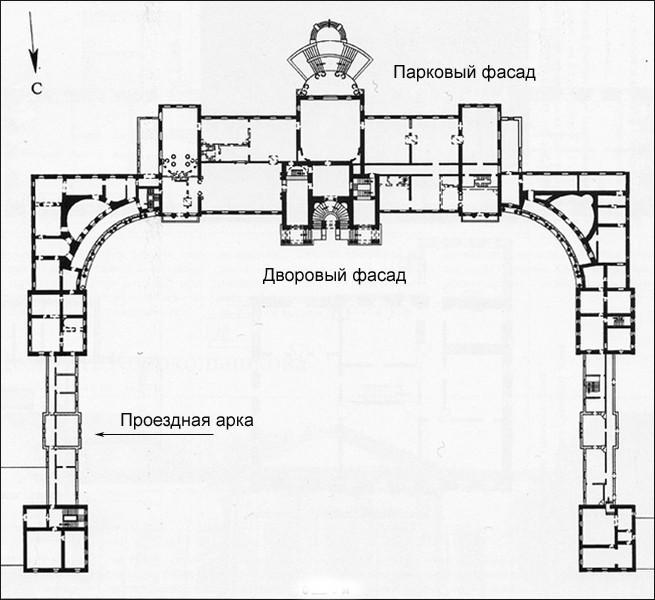 План второго этажа главного дома усадьбы Разумовского.