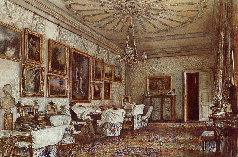 Рудольф Риттер фон Альт. Интерьер дворца в Вене, где жил А.К.Разумовский. 1881.