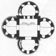 Крестообразный план храма Казанской иконы Божией матери в усадьбе Узкое.