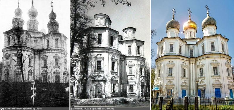 Метаморфозы с куполами храма. Фото 1920, 1973-1976 и 2020, соответственно.