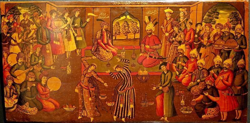 Меджлис шаха Тахмаспа Великого (второй шах из династии Сефевидов (1524-1576)) и Хумаюн-шаха Хинди (монгольский император). Вторая половина XIX века. Дерево, темпера, лак.