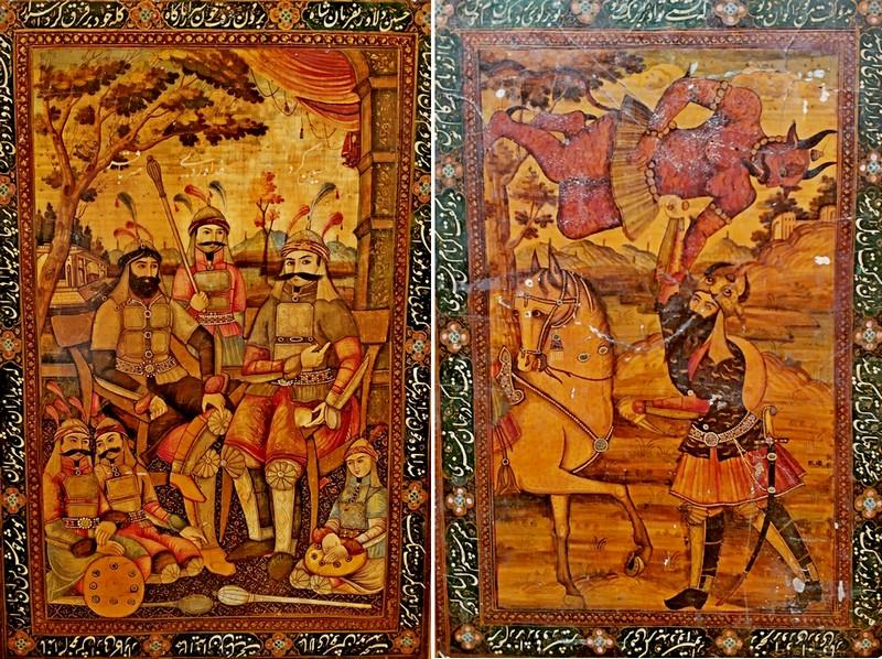 Неизвестный художник: Воины – персонажи дастана «Китаб-и-Хусайн». - Битва Рустама с красным дивом. Обе - первая половина XIX в. Папье-маше, темпера, золото, лак.