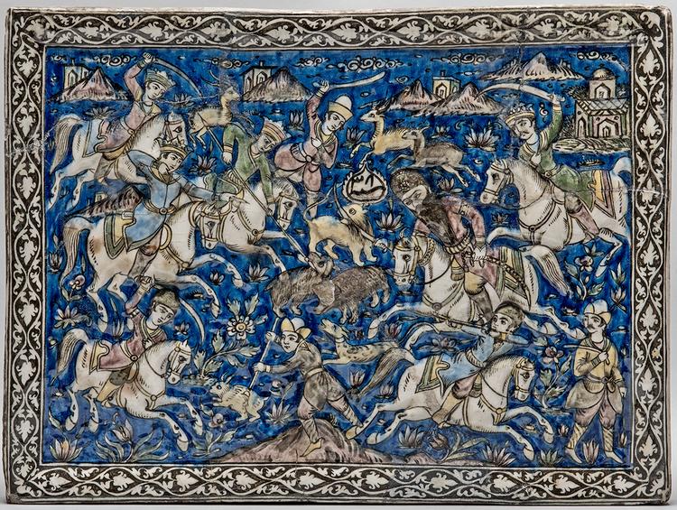 Изразец «Сцена конной охоты». Иран, XIX в.