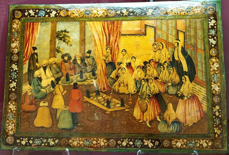 Неизвестный художник. Сватовство. Вторая половина XIX в. Папье-маше, темпера, золото, лак.
