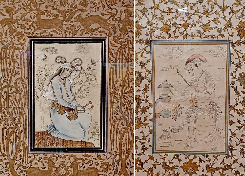 Миниатюры: Женщина с сосудом. Бумага, краски, золото, белила. - Юноша за приготовлением пищи. Бумага, тушь, краски, золочение. XIX в.