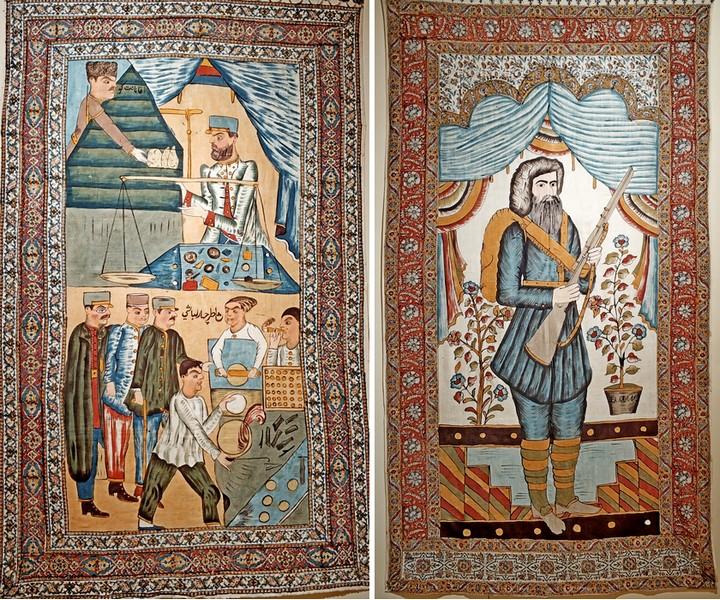 Завесы каламкар: «Пекарня на базаре».- «Мирза Кучек-хан». Обе - начало 1920-х. Хлопок, ручная набойка, роспись.