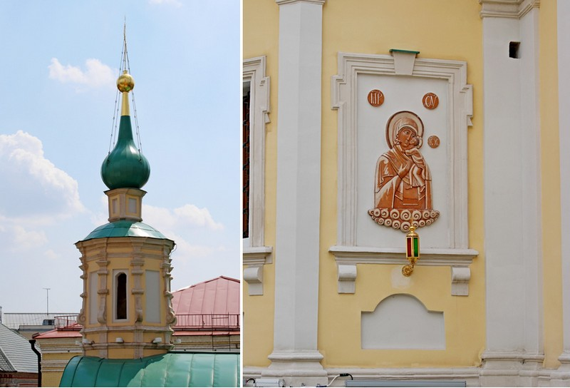 Главка храма с барочными волютами. – Керамическая икона Богоматерь Толгская, расположенная на апсиде храма с северной стороны.