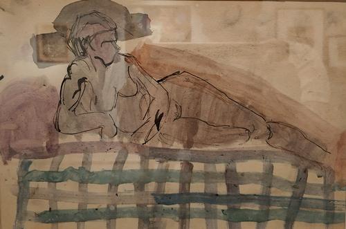 Надежда Удальцова. Лежащая фигура. Лист из альбома. 1912-1913. Бумага, карандаш, акварель. Частное собрание.