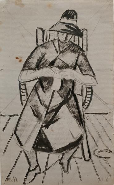 Мария Воробьева (Маревна). Женщина за шитьем. 1916. Бумага, тушь, карандаш. Частное собрание, Париж.