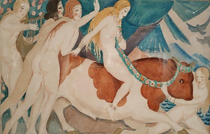 Герда Вегенер. Похищение Европы. 1920. Бумага, акварель. Галерея QUAD Fine Art, Лондон.