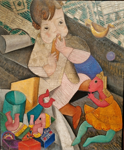 Мария Васильева. Ребенок с игрушками. 1920-е. Холст, масло. Частное собрание.