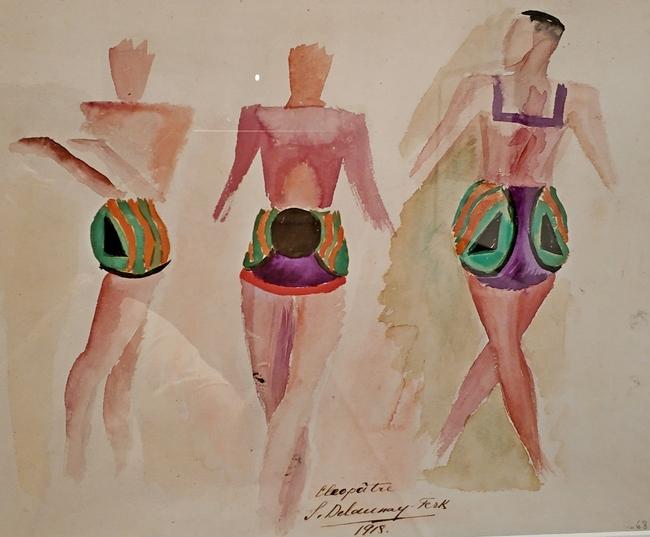 Соня Делоне. Эскиз трех костюмов к балету «Клеопатра». 1918. Бумага, акварель. Галерея «Минотавр», Париж.