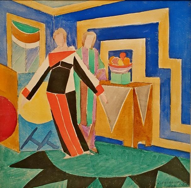 Соня Делоне. Женщины в интерьере. 1923. Бумага, акварель, гуашь, карандаш. Собрание В.Царенкова, Лондон.