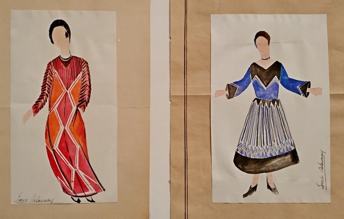 Соня Делоне. Эскизы платьев. Бумага на картоне, гуашь, акварель. Собрание Эммануэля Буссара, Париж.