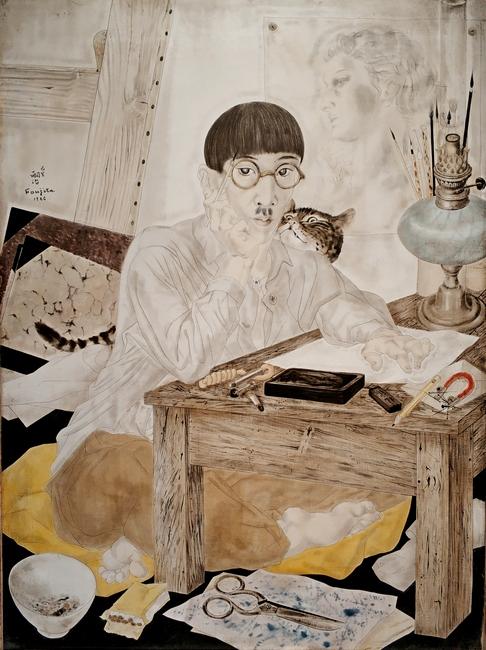 Цугухара Фужита. Автопортрет. 1926. Холст, масло музей изящных искусств, Лион. – На стене портрет Юки.