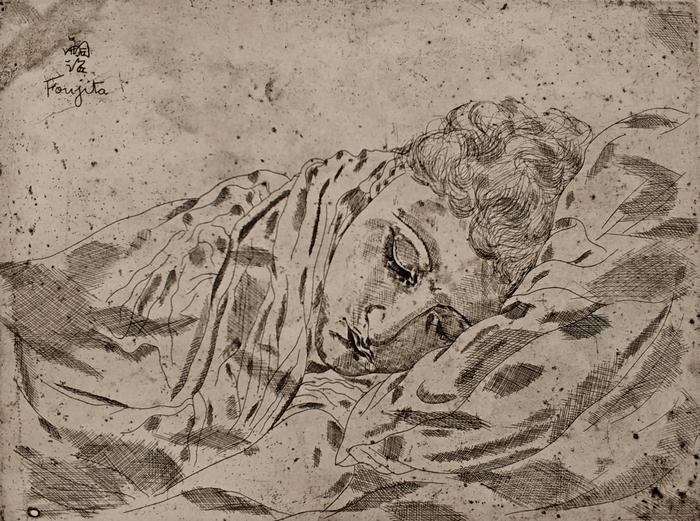 Цугухара Фужита. Спящая Юки. 1926. Гравюра сухой иглой. Частное собрание, Париж.