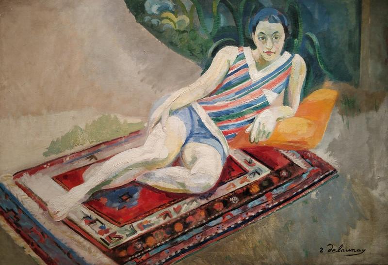 Робер Делоне (1885-1941). Портрет Марии Лани. Лежащая женщина на ковре. 1928. Холст, масло. Собрание семьи Кривошеевых.