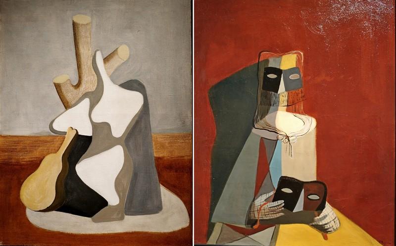 Вера Пагава. Композиция. - Женщина с маской. Обе: Около 1937. Холст, масло. Культурная ассоциация Веры Пагавы, Париж.