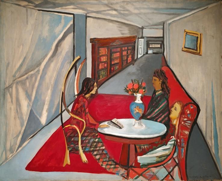 Мария Элена Виейра да Силва. Подруги (Визит). 1942. Холст, масло. Галерея Жанны Бюше Жежер, Париж.