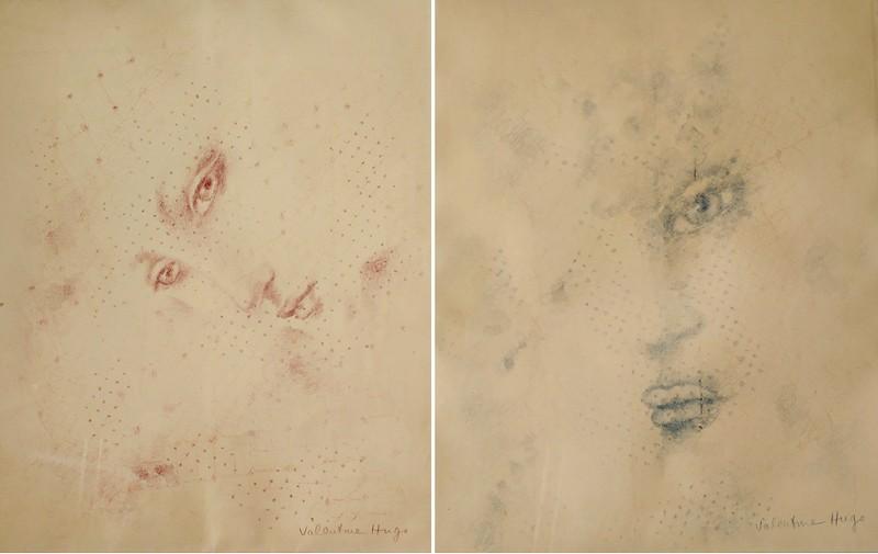Валентина Гросс-Гюго (1887-1968). Рисунок в розовых тонах.-  Рисунок в синих тонах. Оба: Бумага, карандаш. Галерея «Минотавр», Париж.