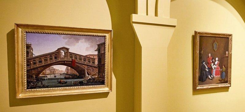Джузеппе Борсато. Мост Риальто. 1819. -  Пьетро Лонги. Визит в Бауте. 1750-1755. Холст, масло. Италия, Венеция. Фонд городских музеев Венеции, Музей Коррера.