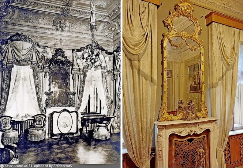 Особняк Коншиной. Камин в Дамском кабинете. Фото 1910 и 2021.