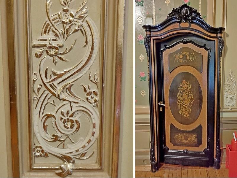 Дамский кабинет. Декор стеновых панелей и оригинальная деревянная дверь в коридор.