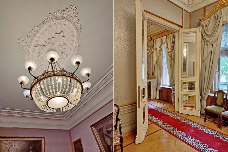 Голубая гостиная. Люстра и зеркальные двери.