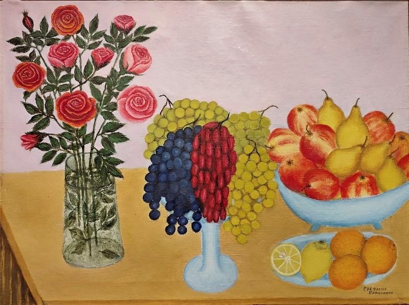Базыленко С.И. Натюрморт с розами. 1995. Холст, масло.