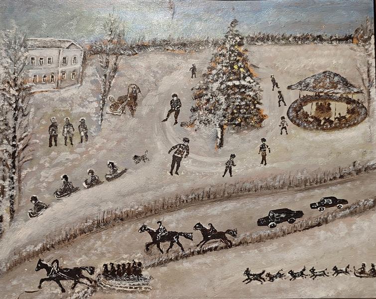 Леонов П.П. Зима. 1968. Картон, масло.