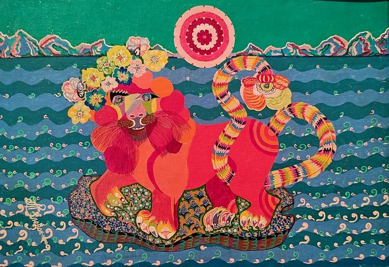 Еленок Т.Д. (1930-2013). Игривый лев. 1989. Холст, смешанная техника.