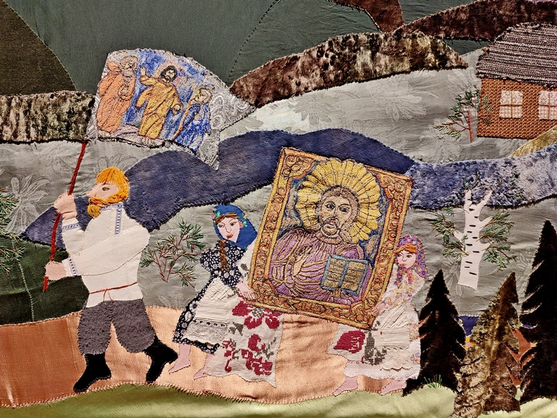 Морозова Г.В. Панно «Крестный ход». Фрагмент.