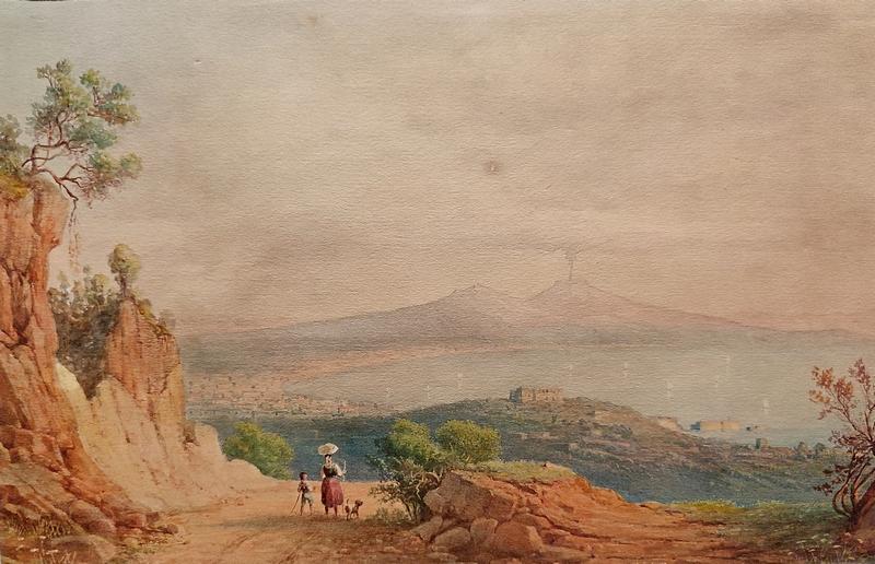 Август Нотнагель. Вид Неаполя. Середина XIX века. Бумага, акварель.