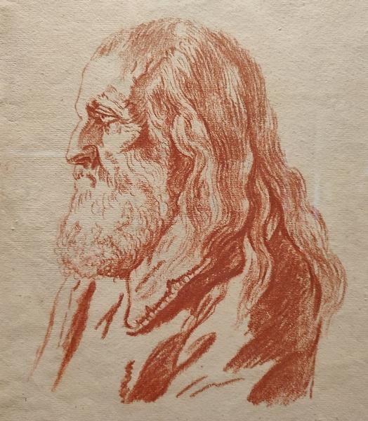 Неизвестный художник. Голова старика. Вторая половина XIX века. Бумага, сангина.