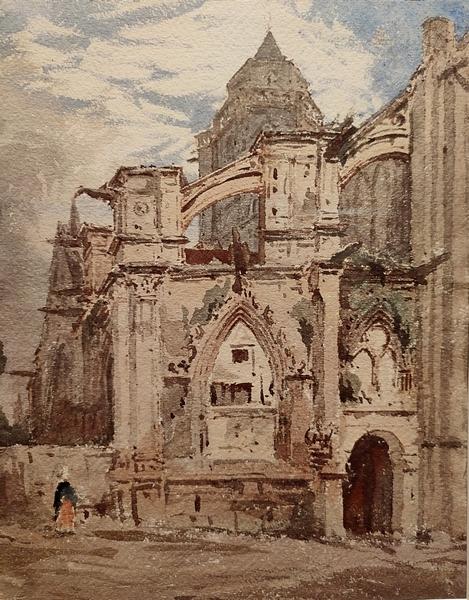 Луи Перен. Церковь Сент-Этьен-ле-Вьё в Кане. Франция. Конец XIX – начало XX века. Бумага, акварель.